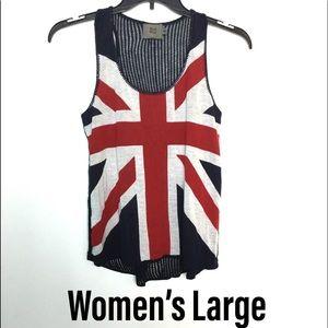 UK Union Jack Flag L Tank Top Shirt Sweater EUC